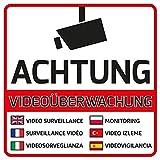 10 Videoüberwachung Aufkleber Achtung Videoüberwacht 105 x 105 mm vorgestanzt Mehrsprachig Sticker Kamera Aufkleber Kameraüberwachung Videoüberwachung Schild Hinweisschild Warnschild Achtung