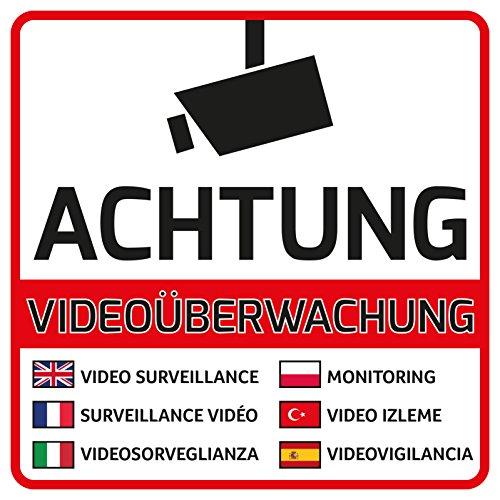 10 Videoüberwachung Aufkleber Videoüberwacht 105 X 105 Mm