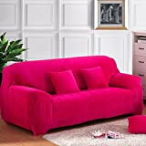 SSDLRSF Elastische Schonbezug Solid Color Plüsch Stretch Schnitt Sofa Bezug für 1/2/3/4-Sitzer Ecksofa deckt Couch Cover (90-300cm), Farbe 10, zwei für 145 bis 185 cm