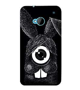 Fuson Designer Back Case Cover for HTC M7 :: HTC One M7 (Black rabbit One Eyed rabbit funny Rabbit Animated Rabbit Smiling rabbit)