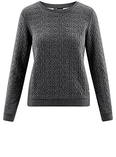 oodji Collection Femme Sweat en Tissu Texturé Gris (2500M)