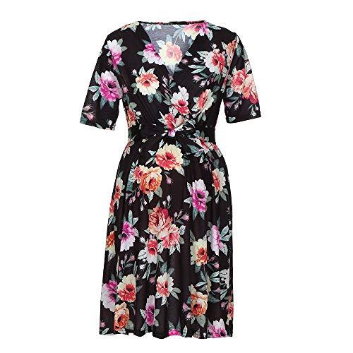 FIRSS Damen Schwangerschaft Umstandskleid Drucken Umstands V Ausschnitt Kurzarm Sommerkleid Kleidung Elegante ()