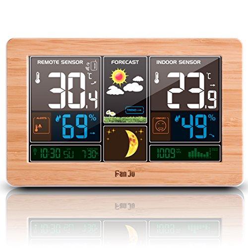 FanJu FJ3378 Wetterstation mit USB-Ladegeräte / Außensensor Funk / Uhr / Innen-/Außentemperatur und Luftfeuchtigkeit / Mondphase