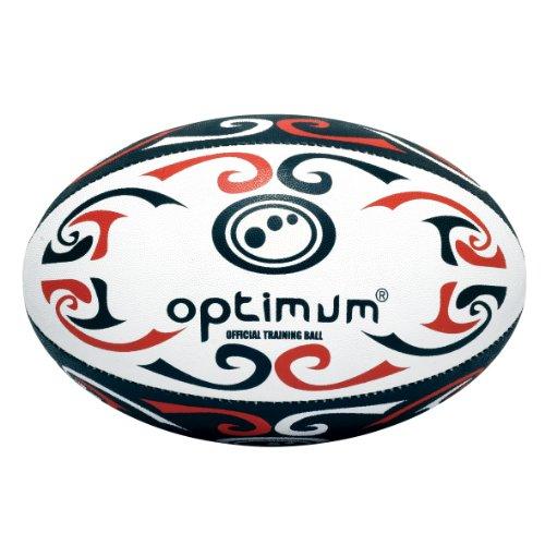 Optimum Palla da Rugby da allenamento Tribal, Rosso (Red/White/Black), Taglia 4