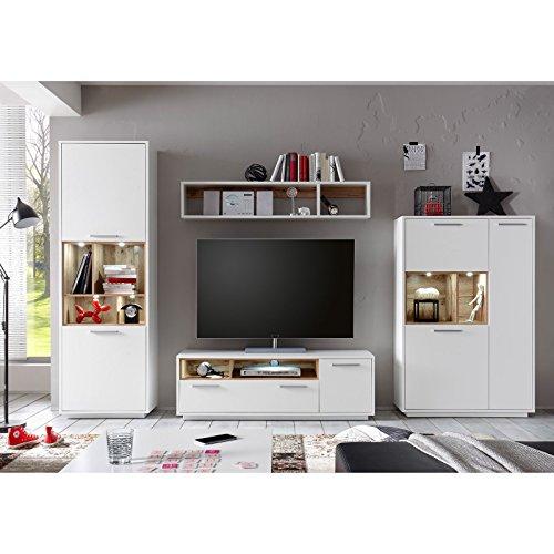 ROLLER Wohnwand MILANO – weiß-Wildeiche – mit Beleuchtung - 3