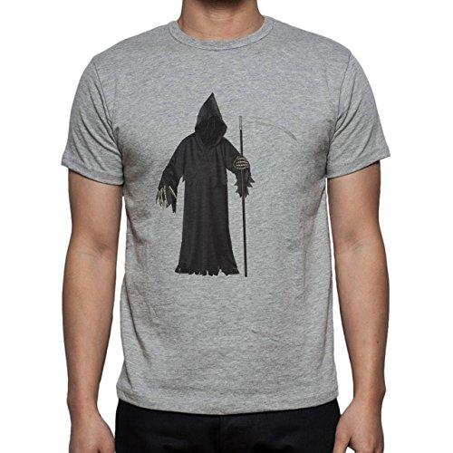 Reaper Death Black Skull Coat Herren T-Shirt Grau