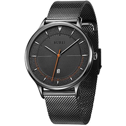Burei Unisexe Cool minimaliste montres à quartz avec grand cadran noir calendrier minéral Cristal Noir en maille Band