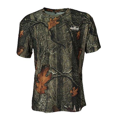 F Fityle Herren T-Shirt Rundhals Ausschnitt Kurzarm Shirt in Tarnfarbe - XL -