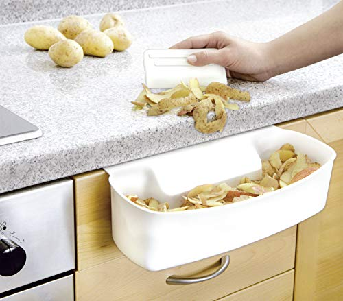 WENKO 7730100 Recipiente para cocina para recoger las basuras - con rascador, Plástico - PP, 32.4 x 17.3 x 9.2 cm, Blanco