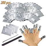 Ultradünnes Nail Polish Remover Wraps Pads,200 Stück Nagellack Remover Aluminiumfolie und 1 Stück Nagelhaut Schieber und 1 Nagelfeile Streifen, Hilfsmittel zum einfachen entfernen von Nagellack
