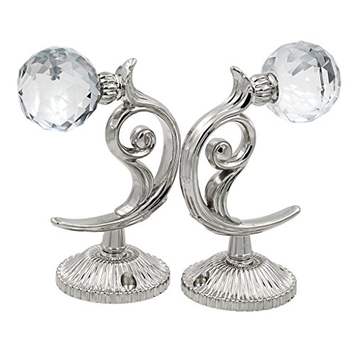 BTSKY 1 Pair Glass Cystal Ball Window Curtain Clothes Hold Backs Hook Tie Back Wall Holder (Silver) Img 2 Zoom