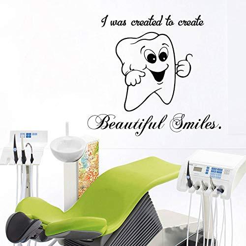 yiyiyaya Nettes Lächeln Zahn Vinyl Aufkleber Fensterglas Lustige Wandtattoo Für Zahnklinik Bad Zahnarzt Stomatologie Tapete 42 * 46 cm (Lustig Halloween Zahnarzt)