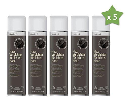5 x Hairfor2 400 ml. Haarverdichter Spray Streuhaar Schütthaar Microhairs Hair Fiber, Farbe:Schwarz Braun