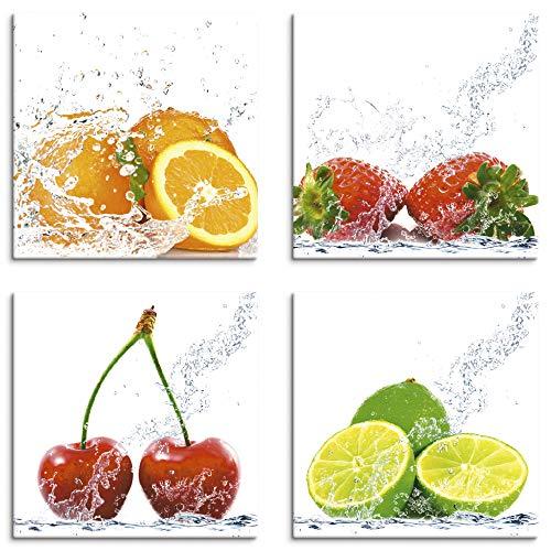 Artland Leinwandbilder auf Holz Wandbild Bild Set 4 teilig je 20x20 cm Quadratisch Essen Lebensmittel Obst Bunt Früchte mit Spritzwasser S6MJ