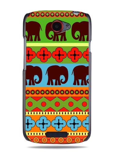 """GRÜV Premium Case - Design """"Afrikanische Elefanten, Tribalkunst"""" - Qualitativ Hochwertiger Druck Schwarze Hülle - für HTC One S Ville Z520e"""