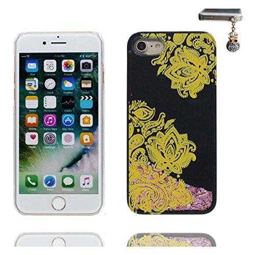 """Coque iPhone 6 Plus, [Bling Bling Glitter Fluide Liquide Sparkles Sables] iPhone 6s Plus étui Cover (5.5 pouces), iPhone 6 Plus Case (5.5""""), anti- chocs et Bouchon anti-poussière - Plum Blossom Noir 4"""