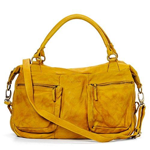 Ira del Valle, Borsa Donna, In Vera Pelle, Vintage, Borsa tracolla donna, Modello Coast to Coast Bag, Made In Italy Senape