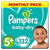 Pampers Baby-Dry Size 5+, 132 Nappies, 12-17 kg, Air Channels for Breathable Dryness Overnight, Monthly Pack