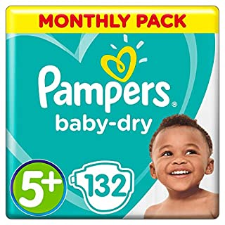 Pampers Baby-Dry Size 5+, 132 Nappies, 12-17 kg, Air Channels for Breathable Dryness Overnight, Monthly Pack (B00AR9HX7M) | Amazon price tracker / tracking, Amazon price history charts, Amazon price watches, Amazon price drop alerts