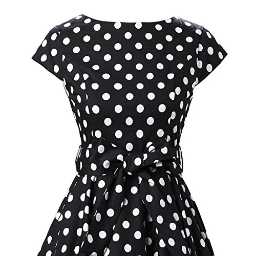 VKStar® Vintage 50s Rockabilly Kleid Damen Polka Dots Audrey Hepburn Kleid Cocktailkleid mit Tupfen Swing Kleid Schwarz Mit Weißen Punkten