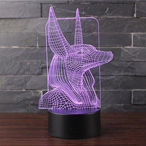 sunray - Lámpara de mesa 3D con iluminación nocturna LED, 7 colores, para decoración de dormitorio de niños 3