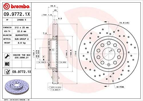 Preisvergleich Produktbild Brembo Bremsscheibe Xtra Line,  Art.-Nr. 09.9772.1X