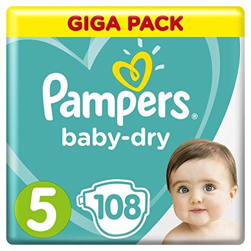 Pampers Baby-Dry Windeln Größe5 (11-23kg), Luftkanäle für atmungsaktive Trockenheit die ganze Nacht, Giga Pack, 1er Pack (1 x 108 Stück)