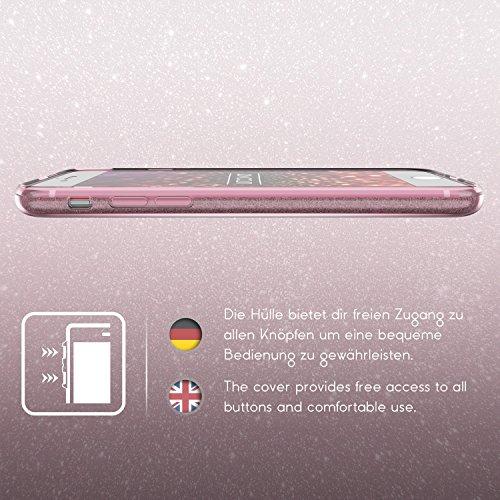 URCOVER Coque Back Case Brillant Glittery Diamant pour Apple iPhone 7 Plus | Étui en Silicone TPU Souple et Douce en Rose or | Housse avec Strass Scintillantes et Pailletté Rose or
