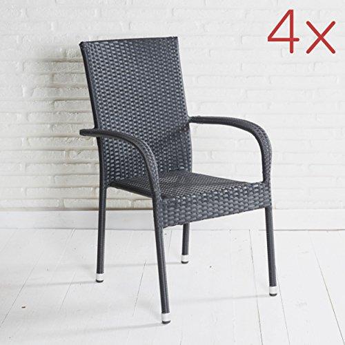 4er Set Stapelstühle Armlehnstühle Gartenstühle in schwarz mit Armlehnen exkl. Auflage stapelbar...
