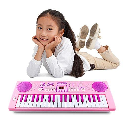 Kinder Klavier, Sanmersen 37 Key Multifunktion Elektronische Tastatur Klavier spielen Klavier Orgel mit Mikrofon Pädagogisches Spielzeug für Kleinkinder Kinder Kinder (Rosa) Kinder Spielzeug Banjo