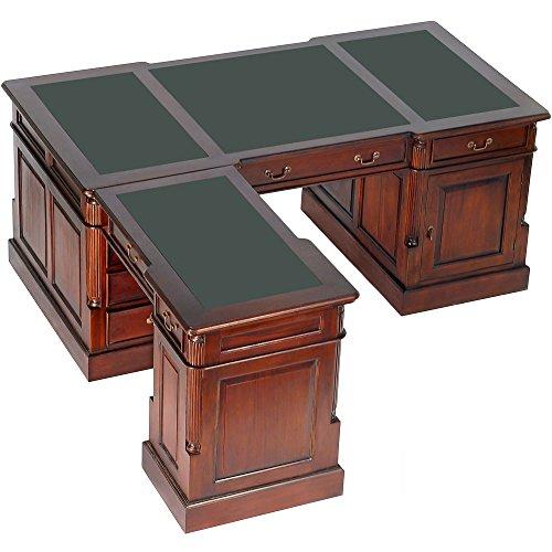 MOREKO Schreibtisch Antik-Stil Partnerdesk Massiv-Holz Eckschreibtisch Mahagoni Computertisch Schreibeinlage grün (Holz Eckschreibtisch)