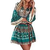 Kleid Damen,Binggong Frauen Blumendruck drei Viertel Lose Ärmel Boho Kleid Damen Elegant Abend Party Mode Beiläufiges Shirt Mini Schmetterlingshülse Kleid (Sexy Grün, M)