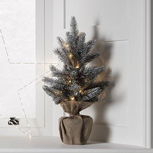 Lights4fun - albero di natale di 53cm con 15 led bianco caldo a pile