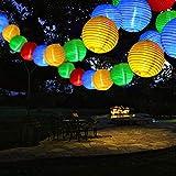 Qedertek Solar Lantern String Lights Outdoor Garden Fairy Lights 19.7ft 30 LED 2 Modes Waterproof Decorative Lights for Summer Garden, Patio, Gazebo, Fence Decorations (Multicolor)