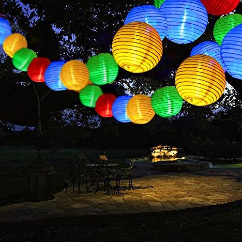 Qedertek Guirnaldas Luces Exterior Solares de Farolillos, Cadena de luces 6M 30 Farol, Guirnalda Luminosa de Linternas Impermeable, Luces Decoración Para Jardines, Casas, Bodas (Colores)