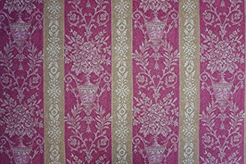 CLEARANCE Prestige Fabrics Damask COTTON MIX Cerise/Gold Burleigh Upholstery Fabric Wholesale - PER METRE
