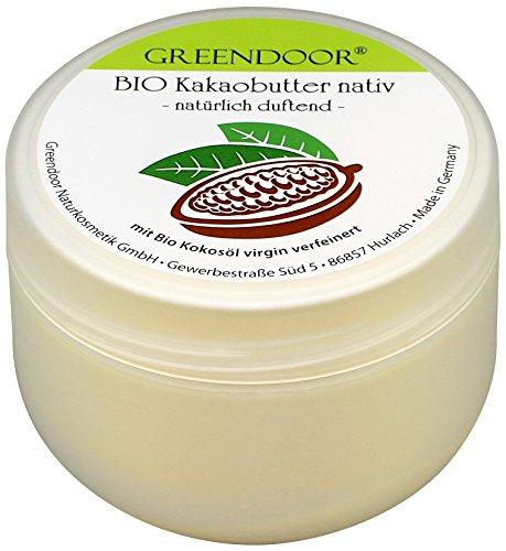 Greendoor Bio Kakao-Butter nativ unraffiniert, Körperbutter Feuchtigkeitspflege Gesicht natürlich...