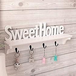 """AIHOMETM motivo """"SweetHome"""" Portachiavi con gancio da parete a 4 ganci appendiabiti con ganci porta-accessori inclusi Intall"""