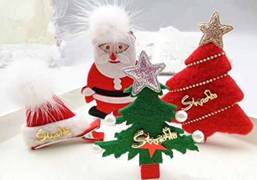 cuhair (TM) 4New Year Weihnachten Santa Claus Baum Hüte Design Haar Clip Haarspangen Zubehör für Mädchen Jugendliche Baby Kleinkind Geschenk