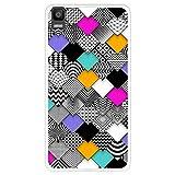 Hapdey silikon Hülle für [Bq Aquaris E5s - E5 4G] mit gestempelt, Design [Abstraktes, modernes geometrisches Mosaik] Farbe [Transparenz] Smartphone, Foto