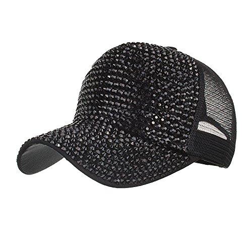 BURFLY Damen Casual Strass Cap, Frauen-Strass-Hüte weiße Baseballmütze Bling Diamond Hat (Schwarz)