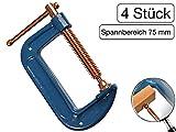 4 Stück Profi C-Schraubzwinge 75mm robust Stahl-Gewinde verkupfert gegen Schweißperlenbesatz