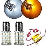 Mintice™ 2 X KFZ 1157 Kehre weiß Bernstein zweifarbige LED-Birne Blinker Licht + Widerstand