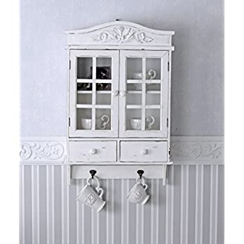 vintage h ngeschrank weiss schrank shabby chic h ngevitrine wandschrank palazzo exclusiv amazon. Black Bedroom Furniture Sets. Home Design Ideas