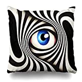 ONewteecap Decorative Throw Pillow Cover Sight Hypnosis Eye Abstract Psychedelic Surreal Dizzy Hypnotic Visual Dream Mesmerized Design Home Decor Pillowcase Square Size 16
