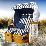 BRAST Strandkorb Nordsee XXL Volllieger Blau Weiß gestreift incl. Schutzhülle 2 Sitzer 120cm breit Gartenliege...