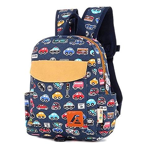 iTECHOR Druck Leinwand-Rucksack-Rucksack-Kindergarten School Student Tasche für Jungen-Mädchen-Kind-Kind-Kleinkinder – Blau Bus M