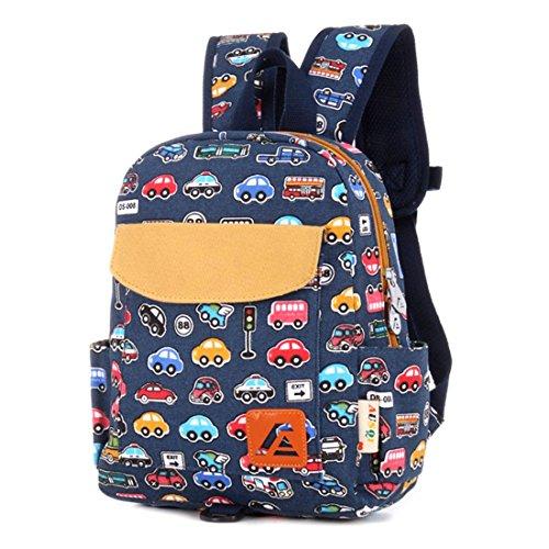 iTECHOR Druck Leinwand-Rucksack-Rucksack-Kindergarten School Student Tasche für Jungen-Mädchen-Kind-Kind-Kleinkinder - Blau Bus M