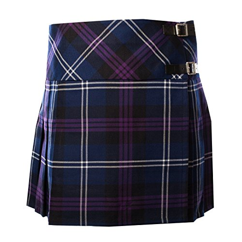 Ladies Scottish Heritage of Scotland Tartan Deluxe Polyviscose Billie Kilt New (UK 8)