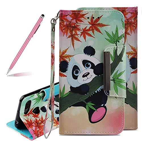 SKYXD Neuf Panda Bambou Érable Motif Peint Mode Glitter PU Cuir Coque pour Redmi 6 Pro, Ultra Slim Mince Pure Leather Case Flip Wallet Portefeuille Magnétique Couverture Cover pour Xiaomi A2 Lite
